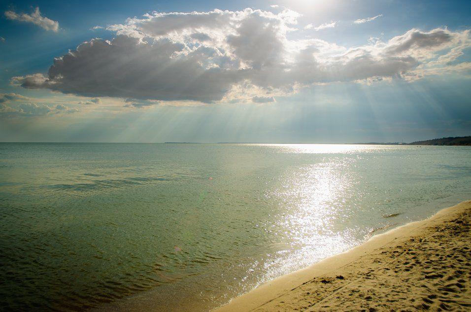 Лучи, Море, Небо, Облака, Пляж, Солнце, Тучи, Олег Скворцов