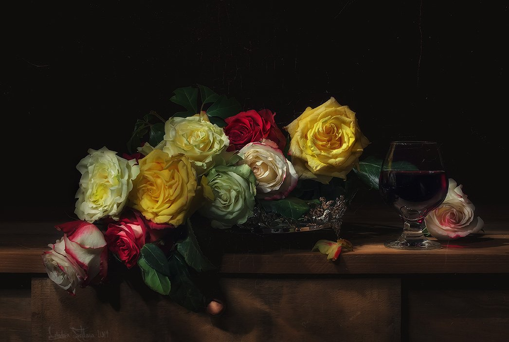 Розы и вино.  Лебедева Светлана