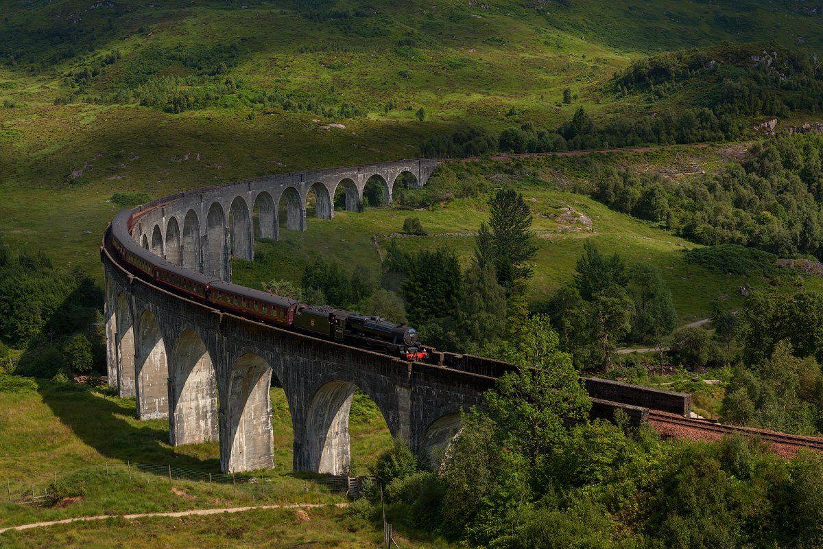 glenfinnan viaduct, jacobite steam train, landscape, scotland, шотландия, Alex Darkside