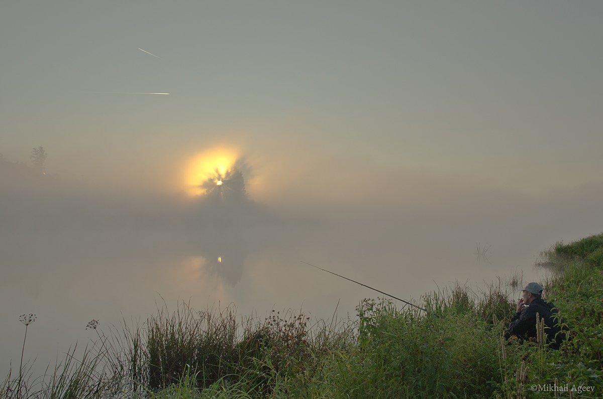 утро туман рассвет рыбак архангельское, Михаил Агеев