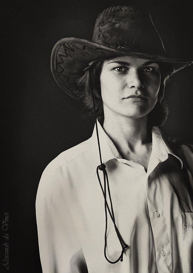 портрет, ковбойская шляпа, ковбой, девушка ковбой, девушка в шляпе, Alexandr da Vinci