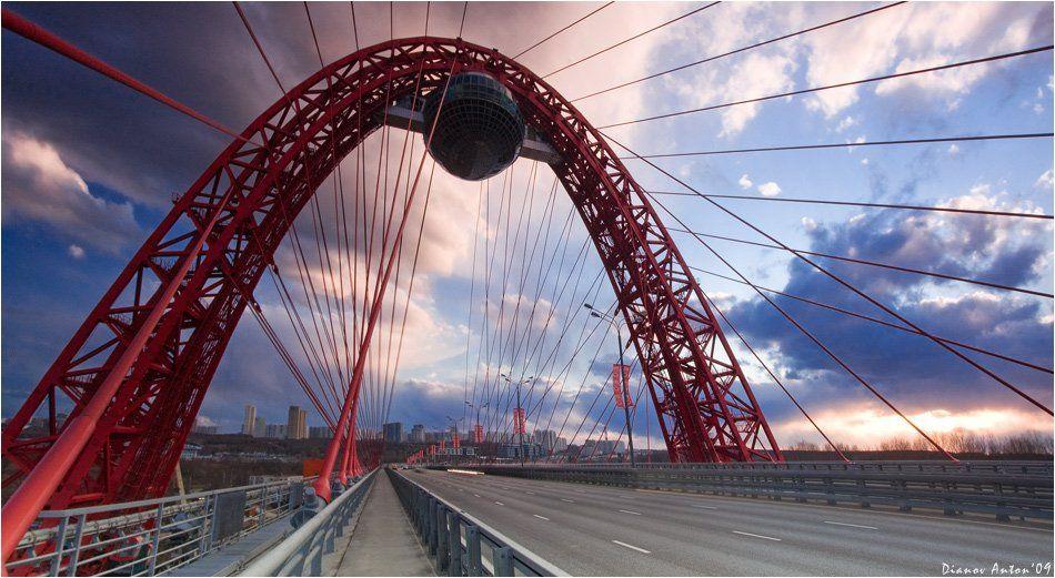 живописный, мост, москва, река, закат, небо, облака, дорога, авто, Тоша