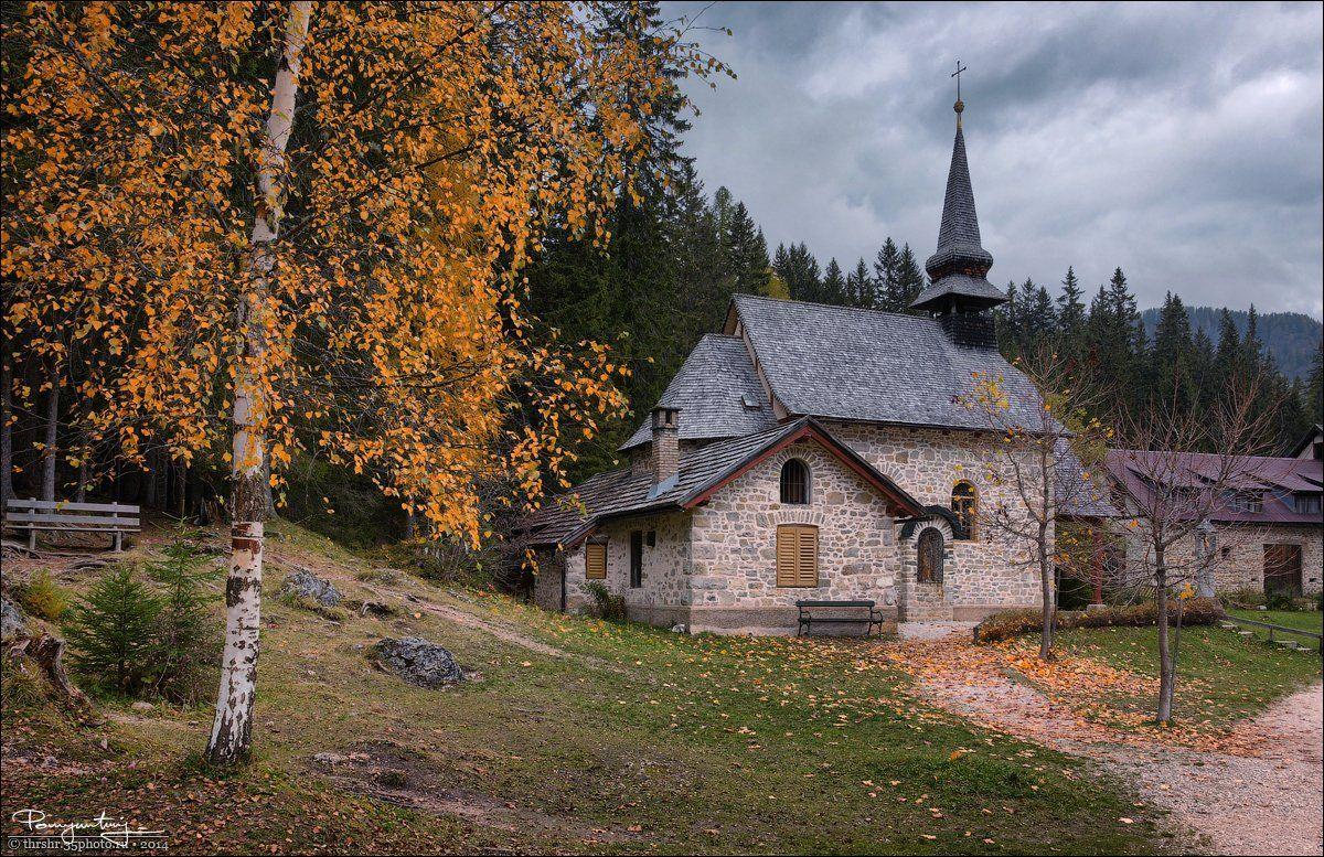 Alps, Autumn, Birch, Braies, Church, Dolomites, Italy, Poetic, Andrew Thrasher