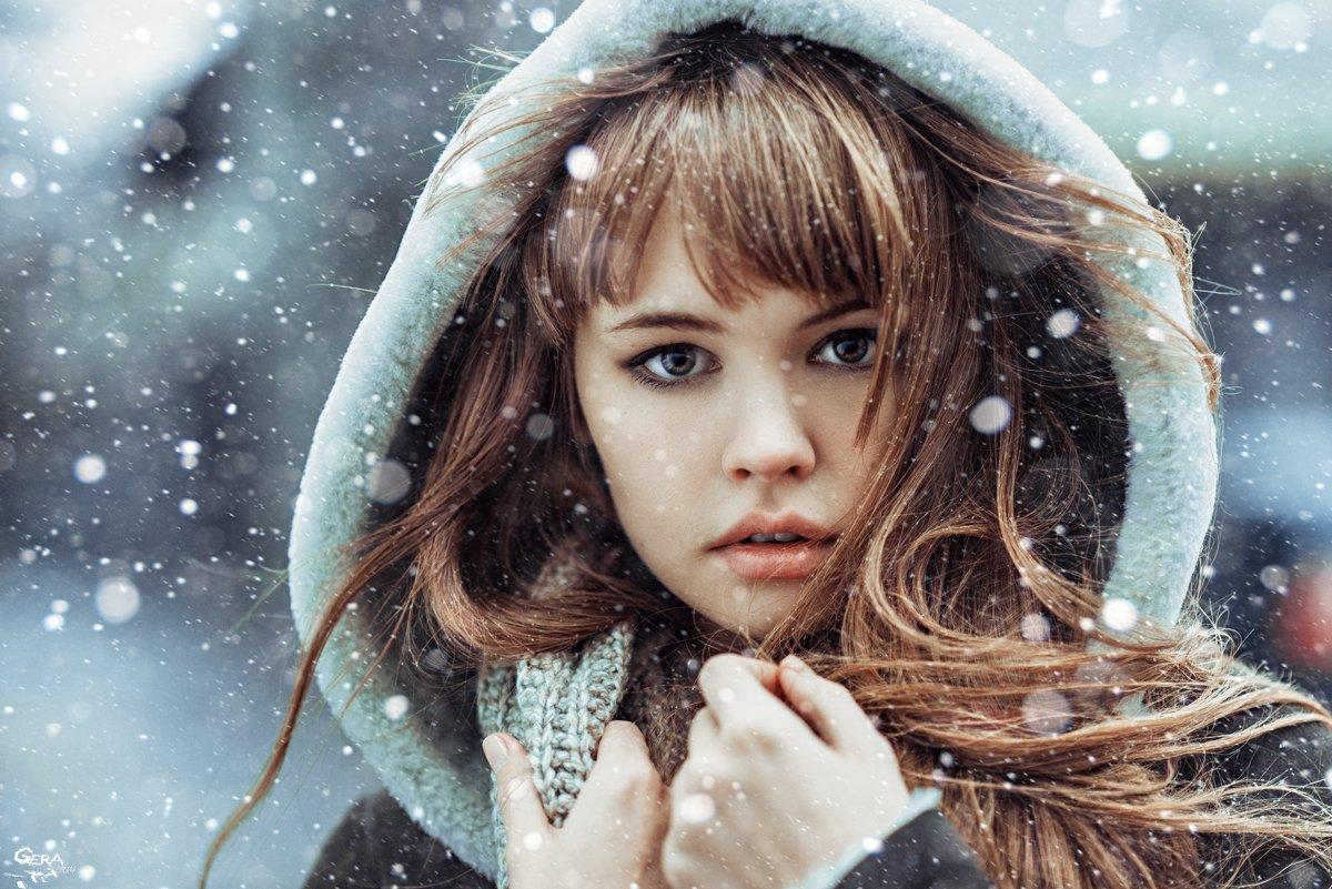 Глаза, Девушка, Зима, Настроение, Снег, Снегопад, Георгий Чернядьев