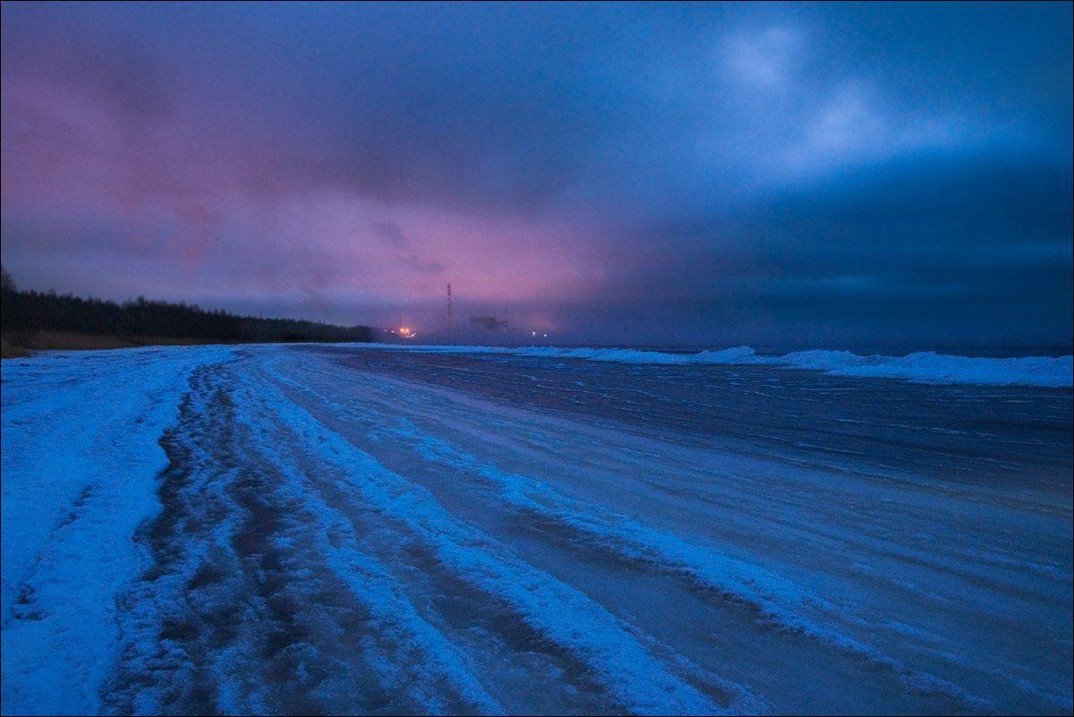 Закат, Зима, Лёд, Снег, Финский залив, Крицак Ольга