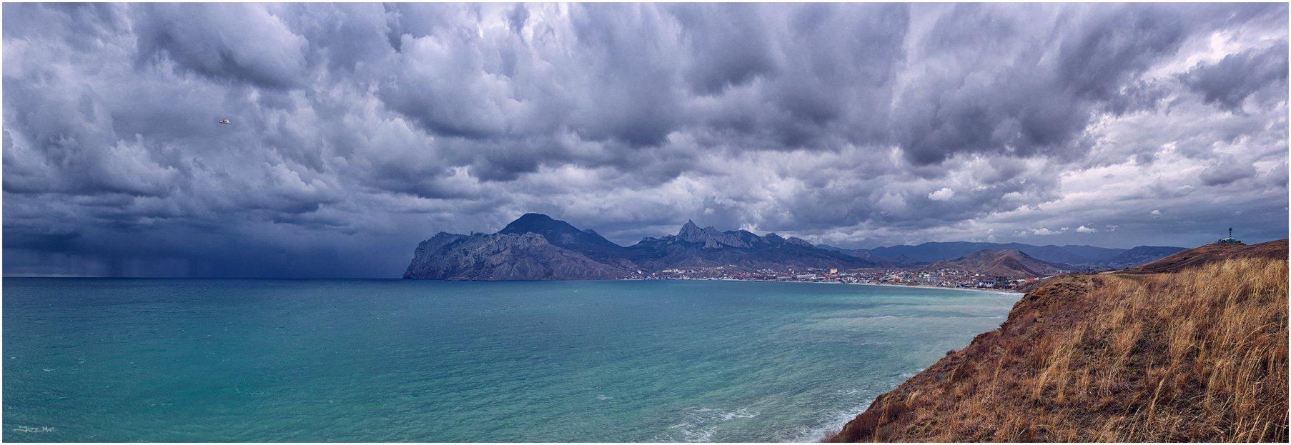 Горы, Гроза, Дождь, Коктебель, Крым, Море, Облака, Панорама, Тучи, Черное море, Jazz Man