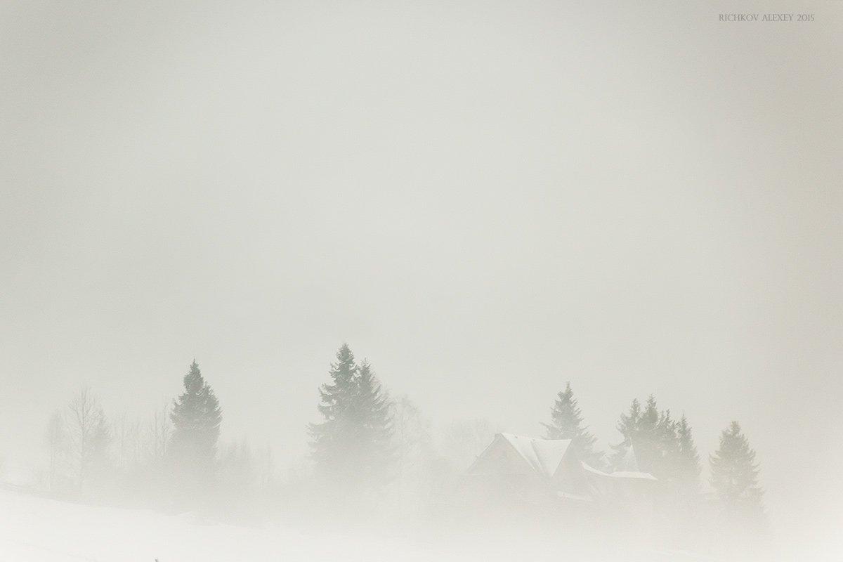 Вышков, Горы, Дом, Зима, Карпаты, Лес, Снег, Туман, Рычков Алексей