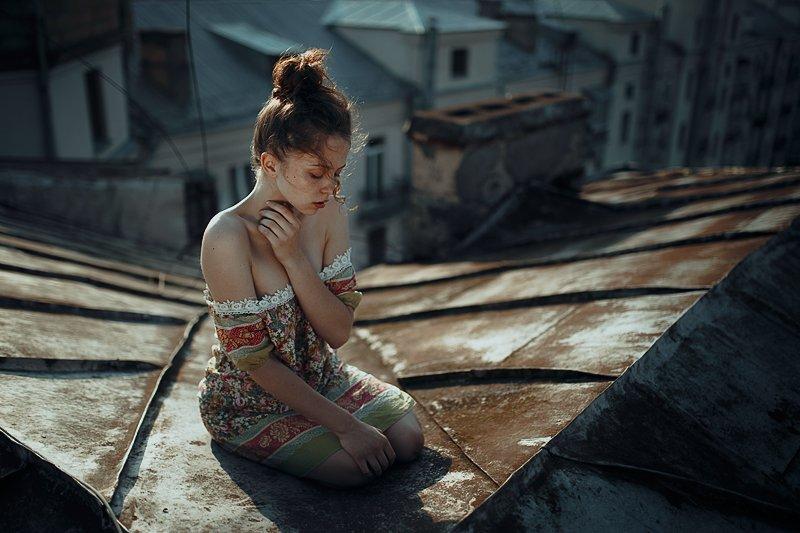 Girl, Девушка, Крыша, Одиночество, Одна, Корнеев Виктор