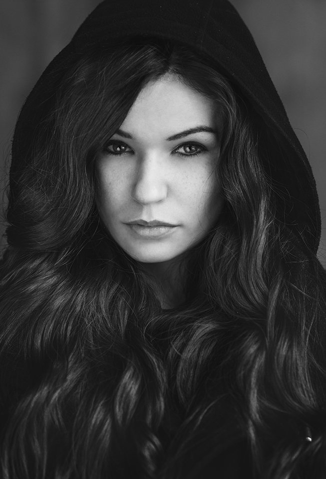 Beautiful, Black & white, Girl, Poland, Portrait, Winter, Hubert Kochański