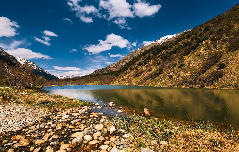 Весна, Горы, Домбай, Озеро, Снег, Олег