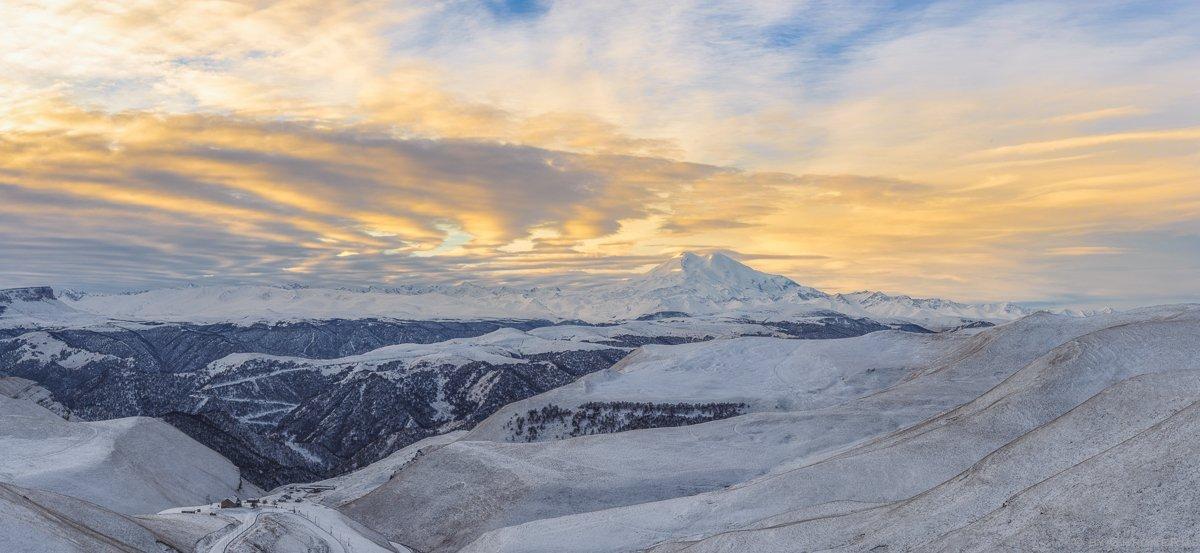 рассвет, зима, кавказ, горы, солнце, снег, зима, Олег