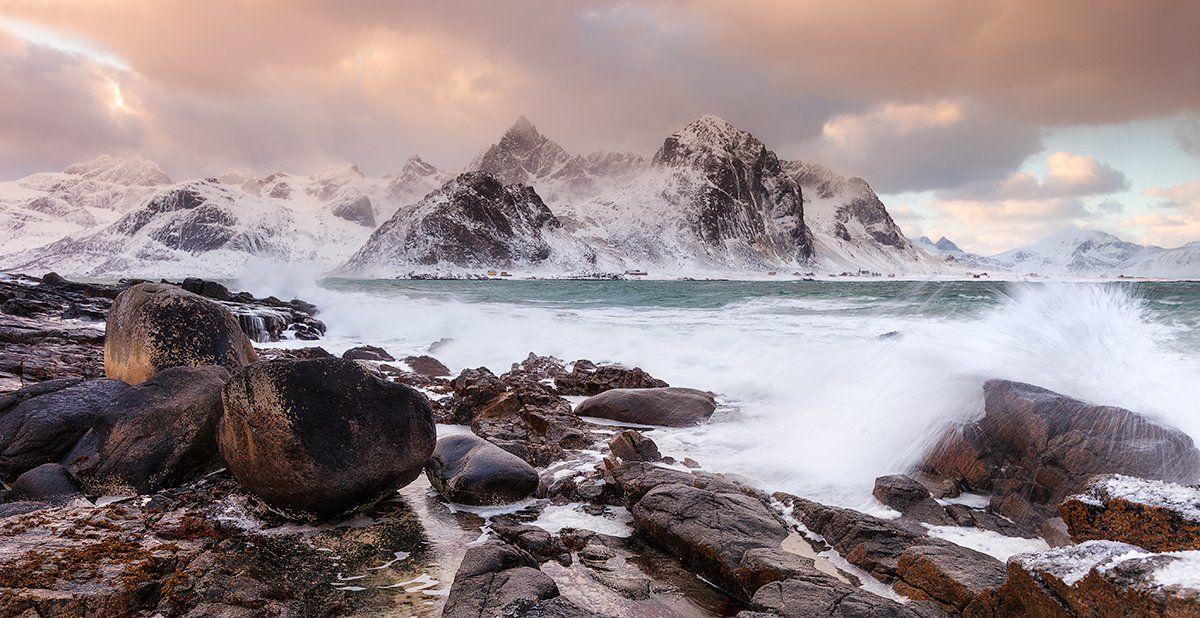 арктика, волны, горы, закат, лофотены, морской пейзаж, норвегия, пейзаж, Вадим Балакин