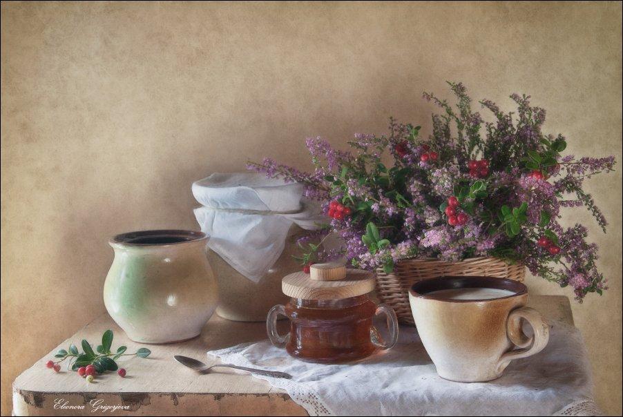 август, брусника, вереск, мёд, молоко, натюрморт, осень, сентябрь, Eleonora Grigorjeva