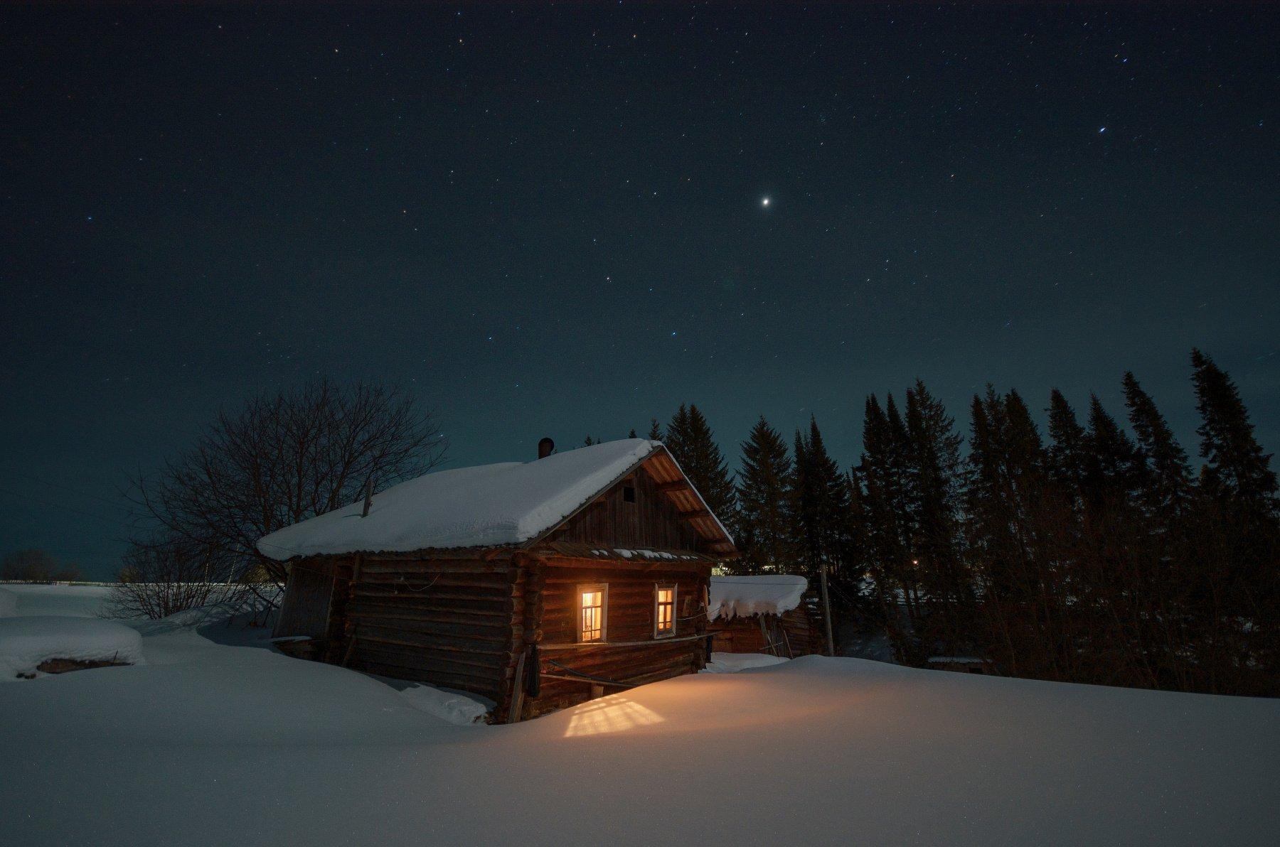 Деревня, Звезды, Изба, Луна, Снег, Сергей