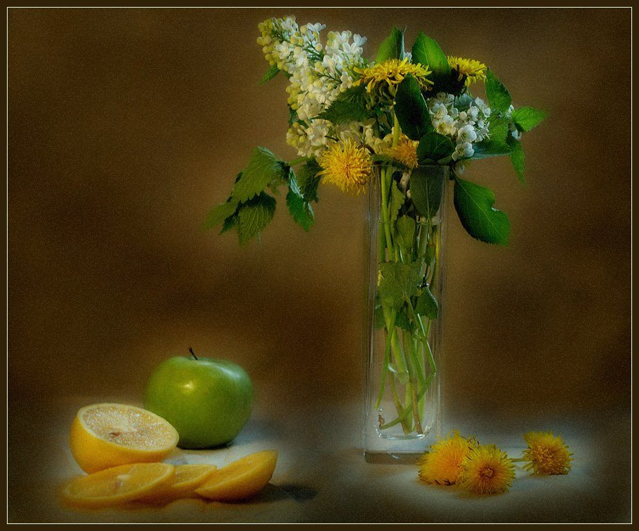 натюрморт, букет, цветы, лимон, яблоко, Юлия