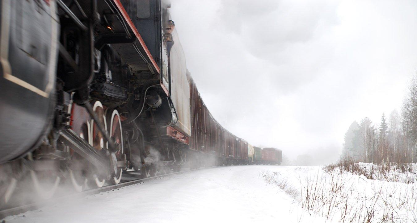 состав, поезд, товарный, паровоз, зима, Boji