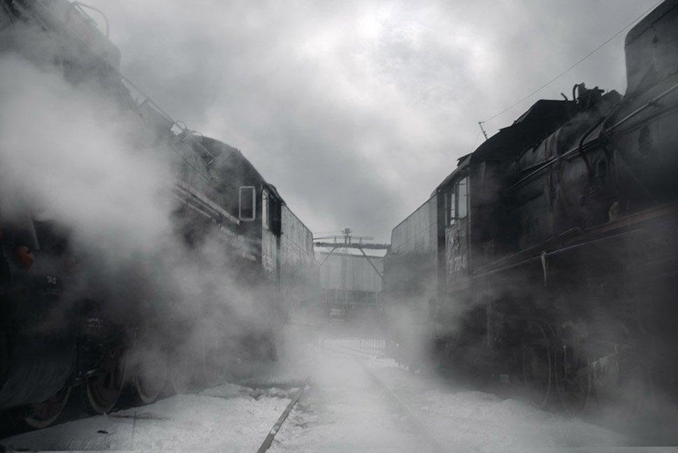 паровоз, зима, Boji