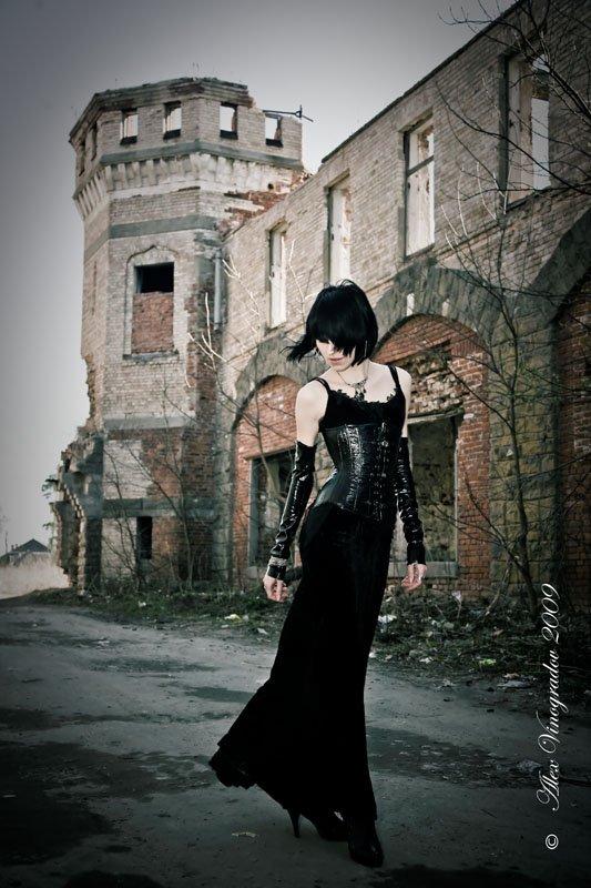 призрак, старого, замка, готика, развалины, девушка, Alex Vinogradov