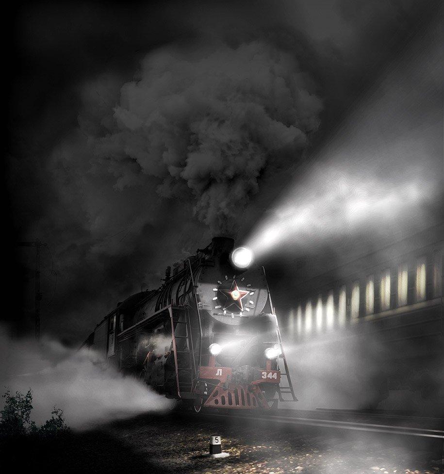 скорый, поезд, паровоз, ночь..., Boji