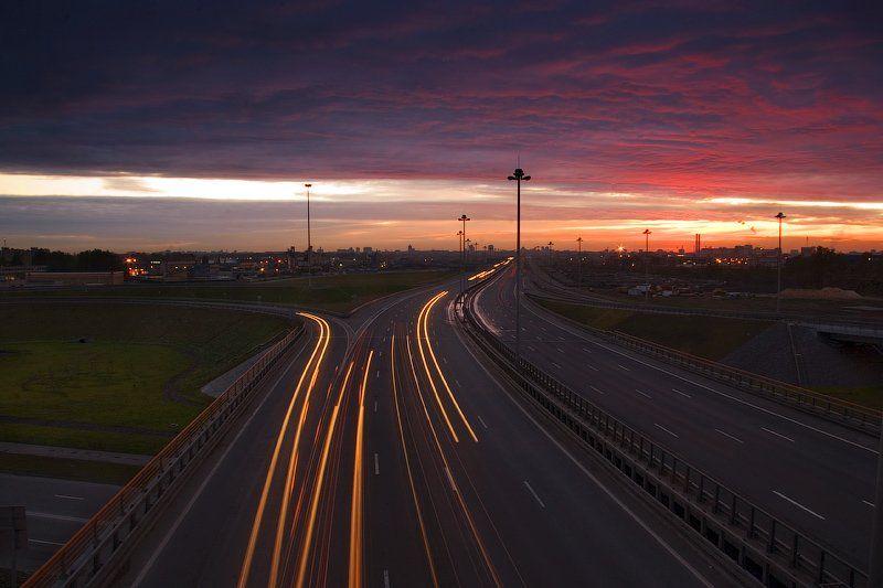 дорога, кольцевая, автомобиль, город, санкт-петербург, движение, закат, дом, трасса, скорость, облако, небо, dyadyavasya, Дмитрий Шамин