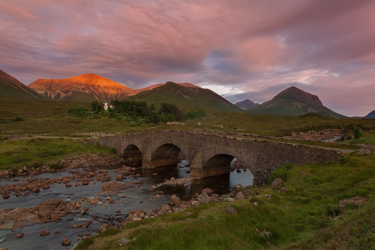 cuillin, landscape, old bridge, scotland, skye, sligachan, sunset, закат, скай, шотландия, Alex Darkside