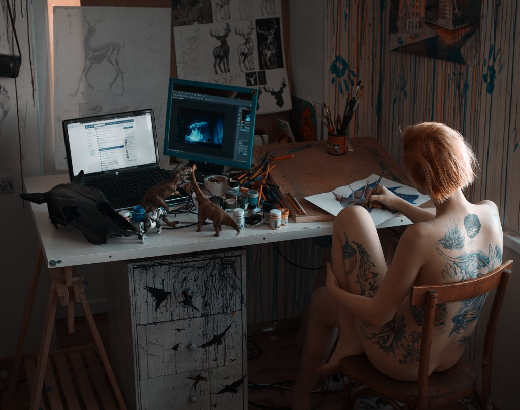 art, artist, at home, girl, nude, paint, painter, painting, tattoo, Роман Филиппов