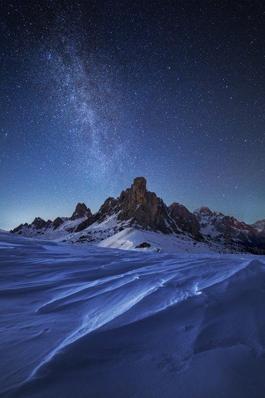 Alps, Cold, Dolomites, Dolomiti, Italia, Italy, Milky way, Mountains, Night, Nightscape, Peaks, Sky, Snow, Stars, Winter, Martin Rak