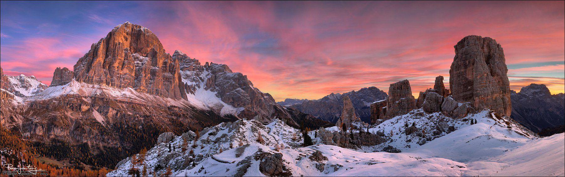 Alps, Bolzano, Cinque torri, Dawn, Dolomites, Hdr, Italy, Panorama, Snow, South tyrol, Sunrise, Andrew Thrasher