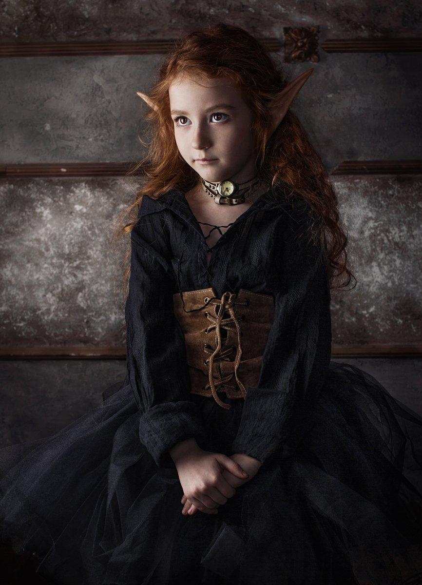 девочка, троль, уши, эльф, стимпанк, портрет, Харитонов Александр