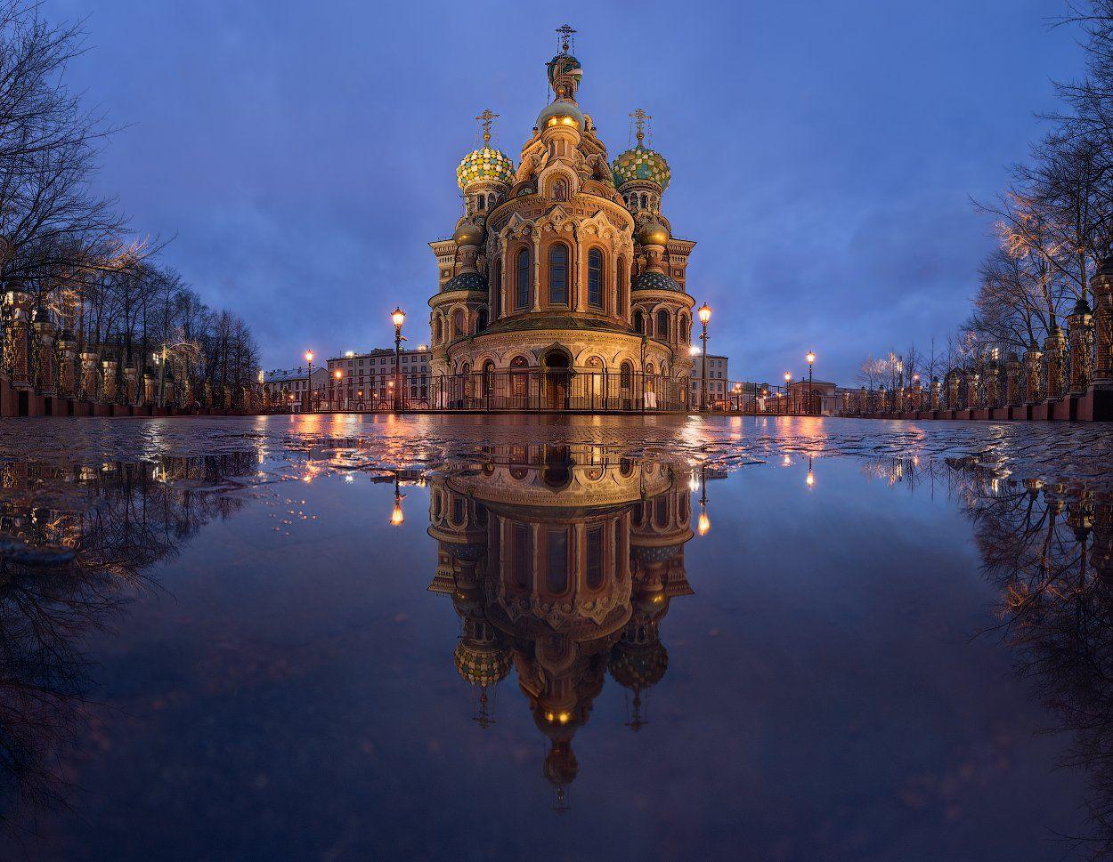 Вечер, Дождь, Ливень, Отражения, Панорама, Санкт петербург, Храм, Sergey Louks