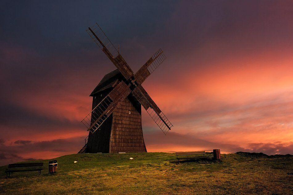 Mill, Sunset, Wind, Sławomir Majchrzak