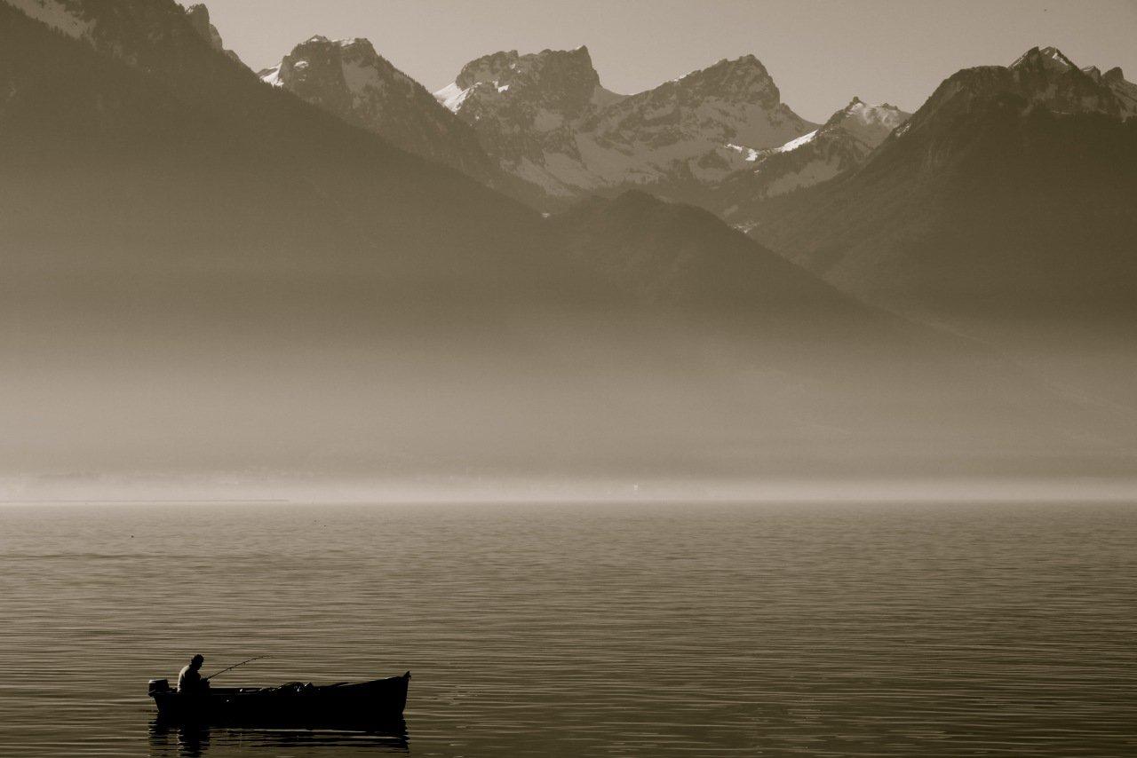 Switzerland, lake, Alps, mountains, bw, Ekaterina Eicher (Velichko)