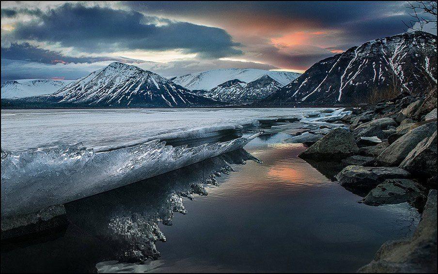 хибины, кольский, полночь, озеро, большой, вудъявр, вода, закат, облака, лёд, снег, весна, полярный, день, Григорий