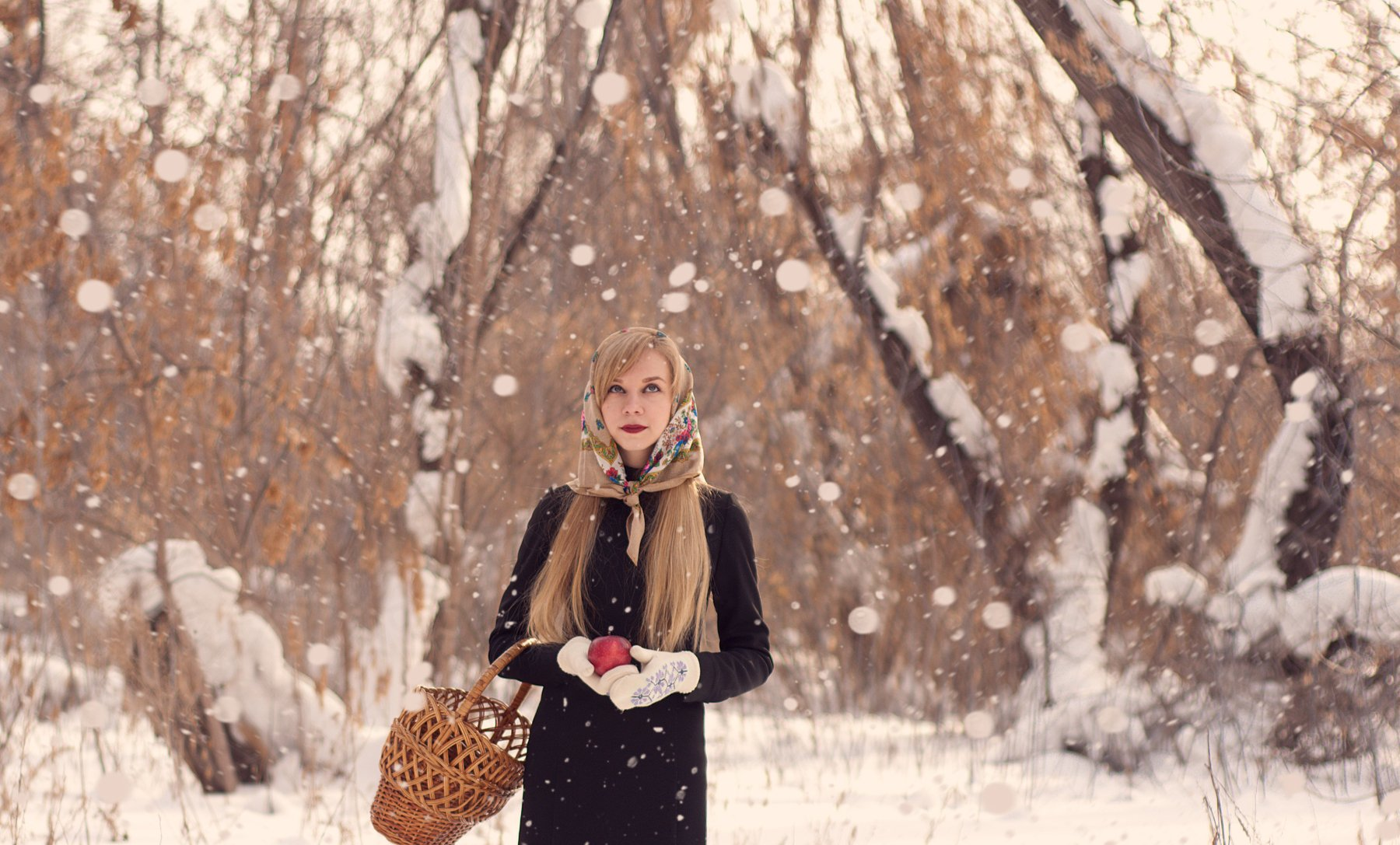 Alone, Forest, Girl, Russian, Snow, Winter, ashai