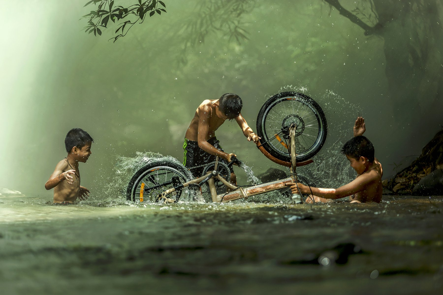#summer. #Bicycle #Candid #Child #Children Only #Color Image #Day #Horizontal #Outdoors #People #Photography #Pre-Adolescent Child #Real People #Sunlight #Thai culture #Three Boys #Togetherness #Tradition #Transportation #Two People #Wading #Washing #Wate, Jakkree Thampitakkull