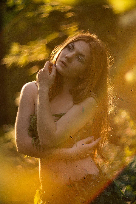 рыжая, лес, закат, портрет, модель, лето, Леся Рэйка, Поминова Олеся