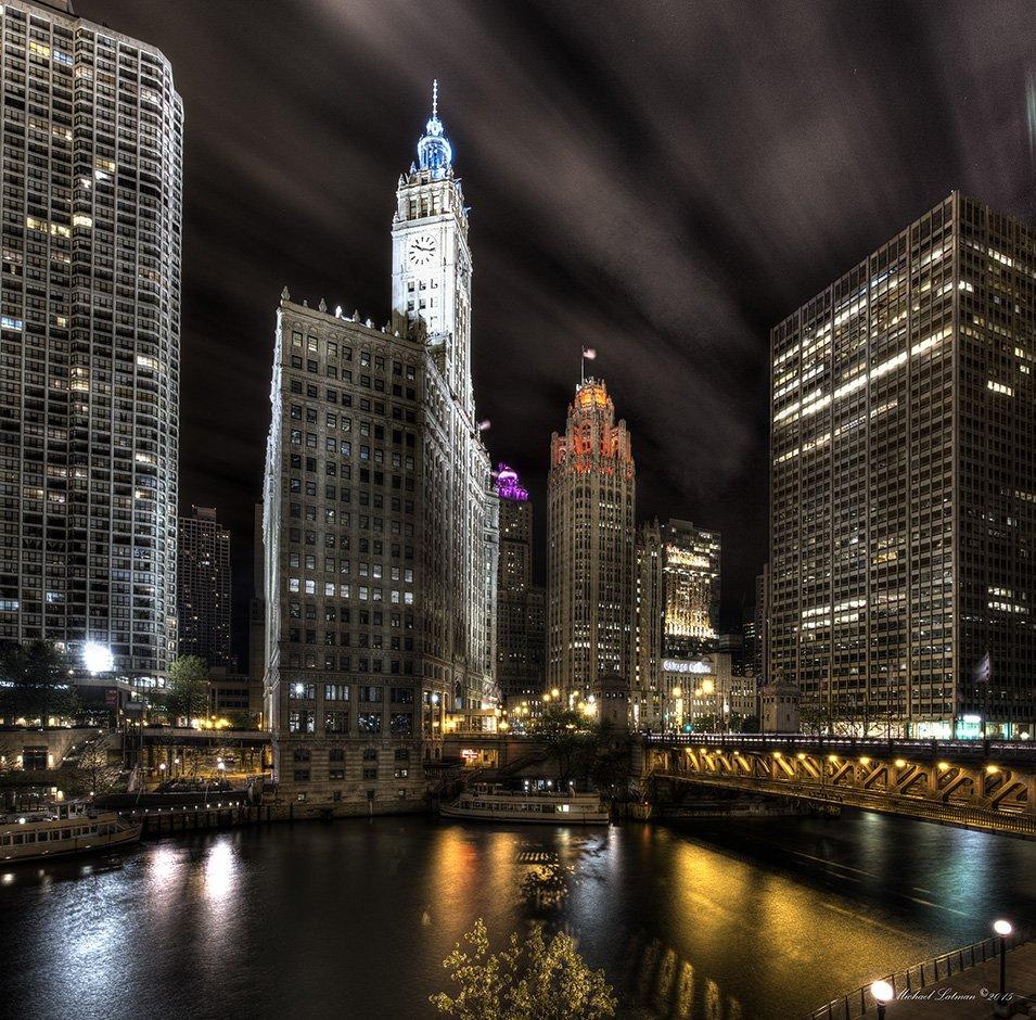 chicago, city, lights, melody johny guitar, night, river, sax, sky, windy, Michael Latman