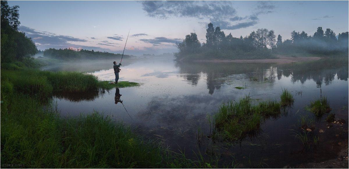 пейзаж,туман,панорама,вода,отражение,люди, Истомин Виталий