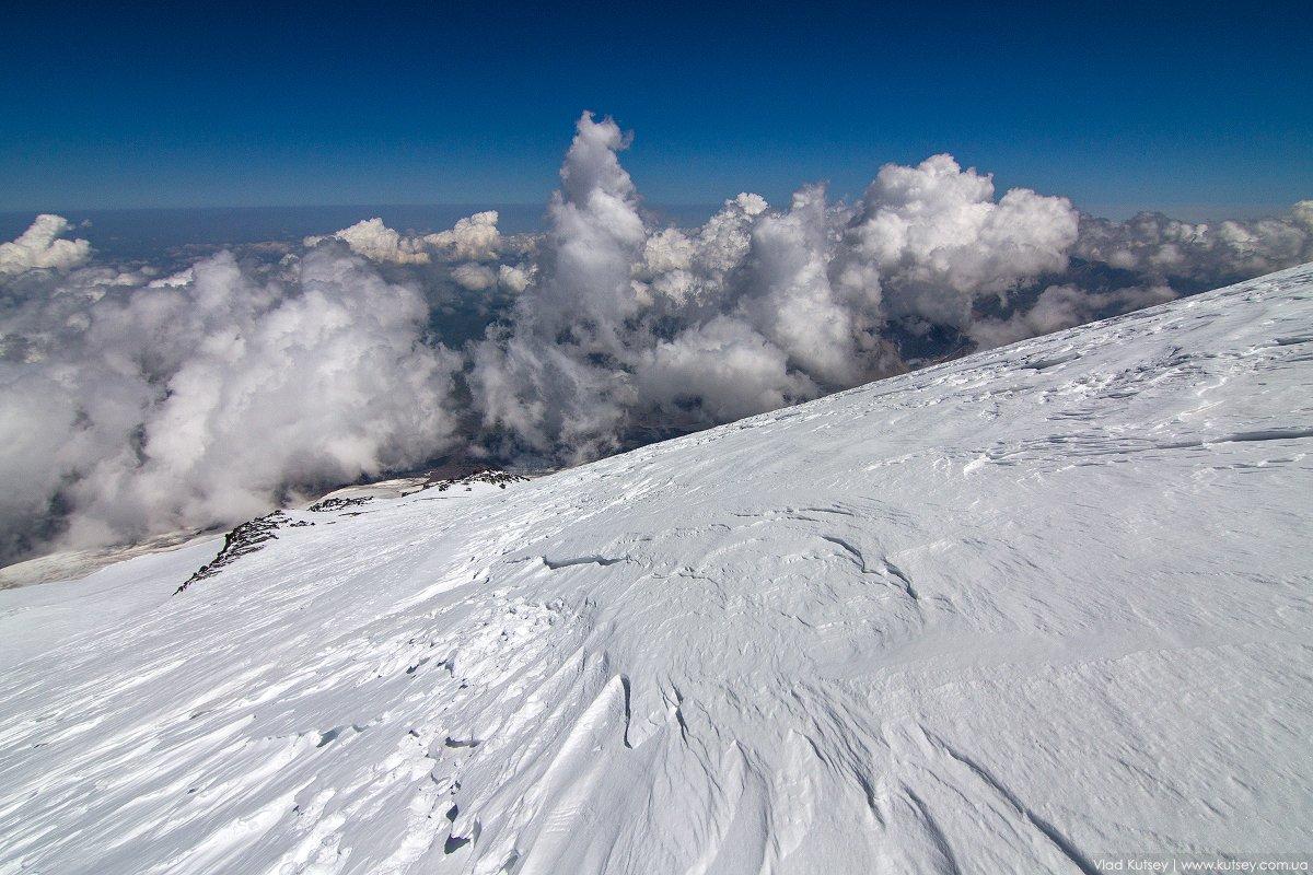 Эльбрус, гора, восхождение, путь, снег, ледник, облака, Владимир Куцый