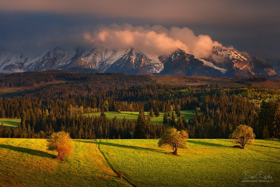 Slovakia, Tatras, Belianske Tatras, evening, spring, mountains, trees, forest, sky, clouds,, Daniel Řeřicha