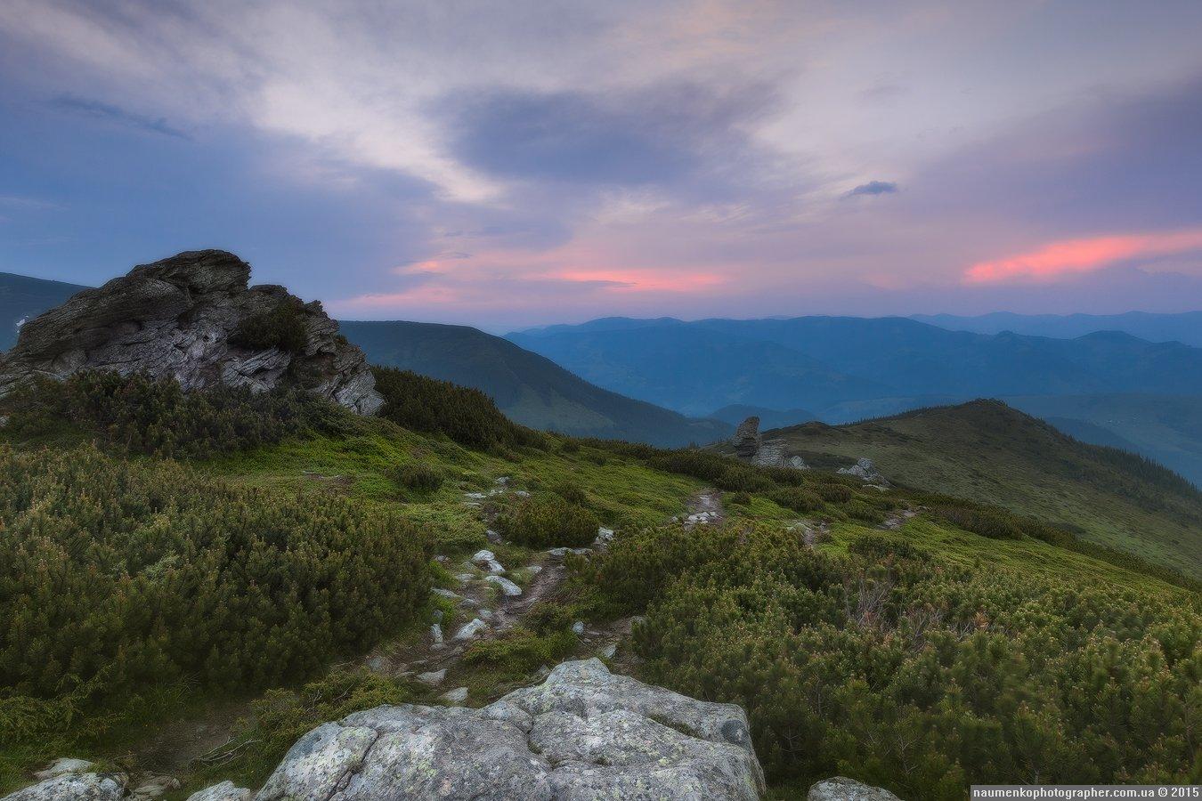 Вухатый камень, Горы, Дземброня, Закат, Карпаты, Пейзаж, Украина, Александр Науменко