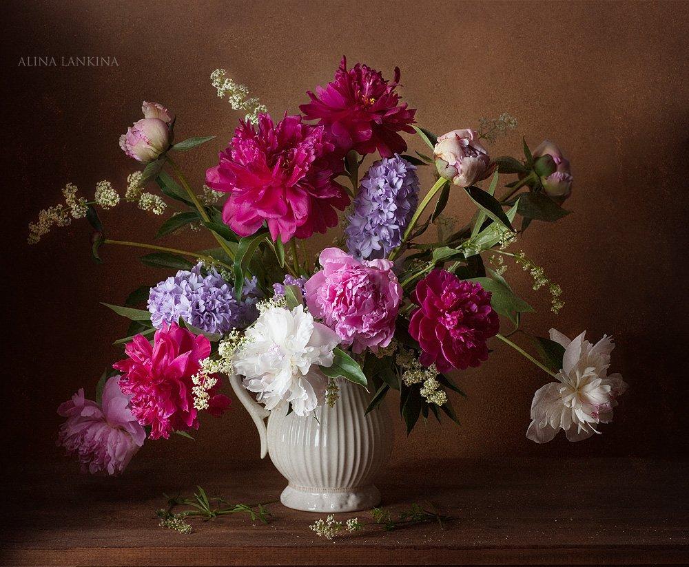 натюрморт, пионы, цветы, букет, кувшин, гиацинт, лето, Alina Lankina