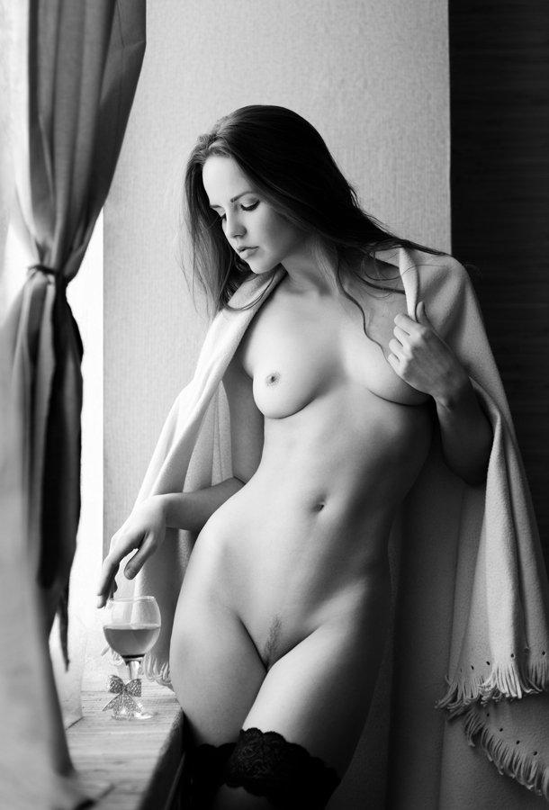 девушка, модель, студия, чб, ню, портрет, окно, свет, Владимир Тихорский