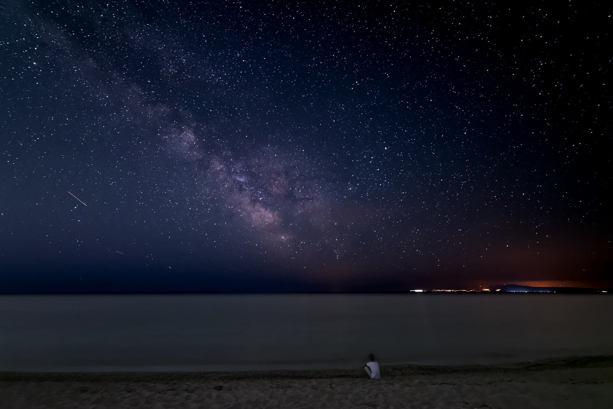 пейзаж, ночь, звезды, звездное небо, море, человек, Дмитрий Старостенков
