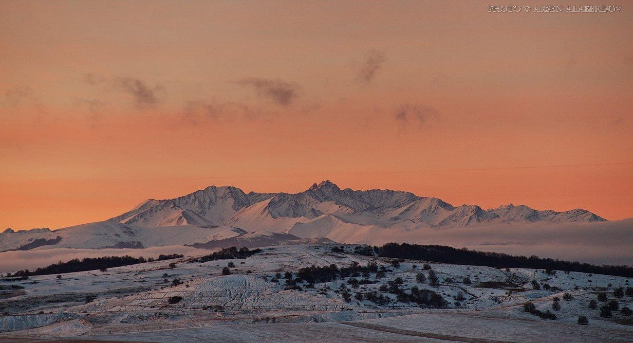 горные вершины, горный пейзаж, горы, карачаево-черкесия, панорама, рассвет, северный кавказ, снежные вершины, АрсенАл