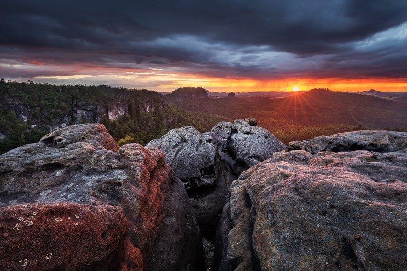 Clouds, Evening, Landscape, Light, Rocks, Saxon switzerland, Summer, Sunset, Martin Rak