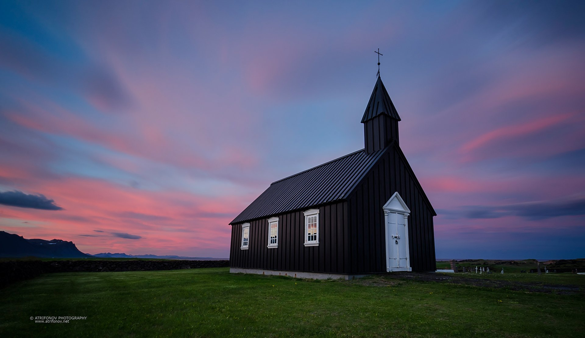 Budir, Iceland, Snaefeelsness, landscape, midnight sun, sky, pink, long exposure, church, old, black church, Andrey Trifonov