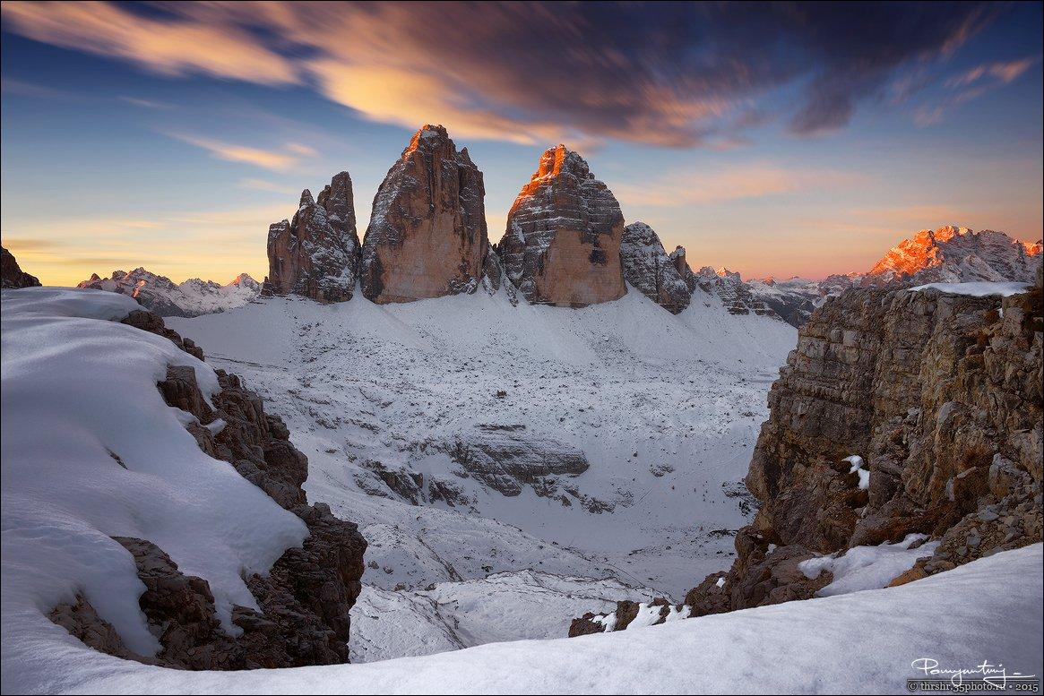 тре чиме, tre cime, di lavaredo, drei zinnen, three peaks, dolomites, italy, italia, италия, доломиты, доломитовые, альпы, alps, sunrise, рассвет, Andrew Thrasher