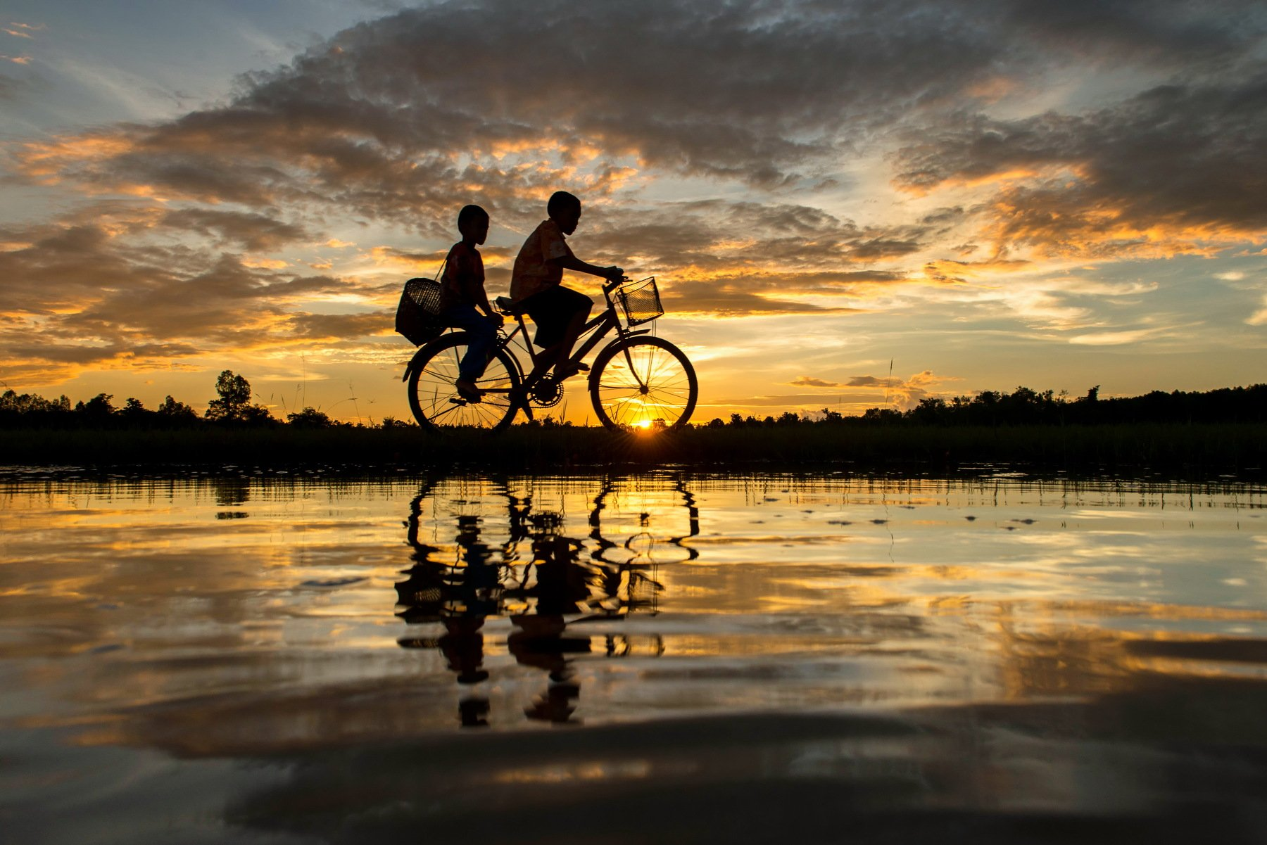 Cycling, Bicycle, Scenics, Sunset, Reflection, Lake, People, Two People, Nature, Silhouette, Thailand, Atmospheric Mood, Beauty In Nature, Cloud - Sky, Color Image, Horizontal, On The Move, Outdoors, Photography, Sky, Sunlight, Togetherness, Transportatio, sarawut intarob
