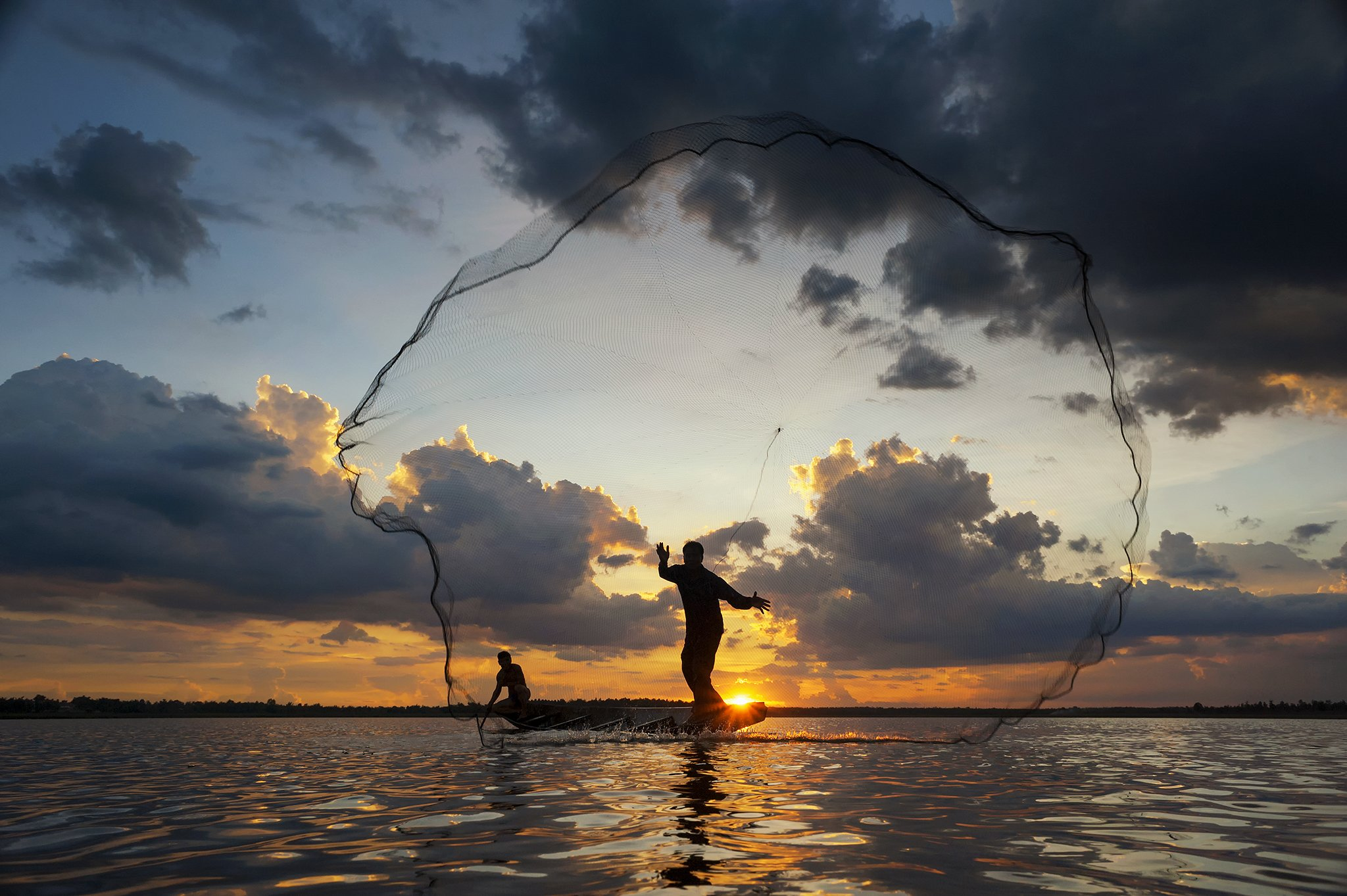 Action, Asia, Asian, Clouds, Colors, Concept, Culture, Fish, Fisherman, Fishing, Kingfisher, Moment, Nets, Ocean, Sea, Sky, Sun, Sunlight, Sunrise, Sunset, Water, Saravut Whanset